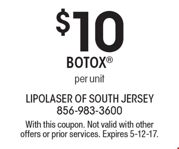 $10 Botox per unit. With this coupon. Not valid with other offers or prior services. Expires 5-12-17.