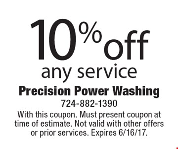 10%off any service. With this coupon. Must present coupon at time of estimate. Not valid with other offers or prior services. Expires 6/16/17.