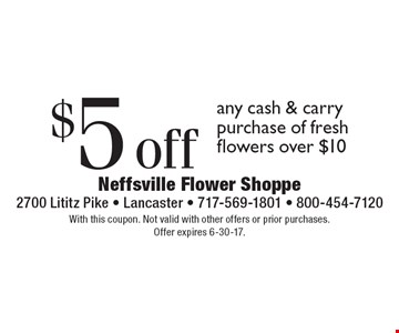 $5 off any cash & carry purchase of fresh flowers over $10. With this coupon. Not valid with other offers or prior purchases. Offer expires 6-30-17.