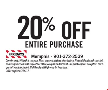 20% OFF entire purchase. Dine in only. With this coupon. Must present at time of ordering. Not valid on lunch specials or in conjunction with any other offer, coupon or discount.No photocopies accepted. Tax & gratuity not included. Valid only at Highway 64 location.Offer expires 5/26/17.