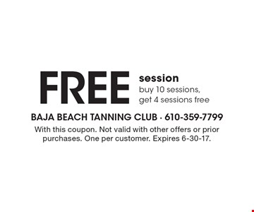 FREE session. Buy 10 sessions, get 4 sessions free. With this coupon. Not valid with other offers or prior purchases. One per customer. Expires 6-30-17.