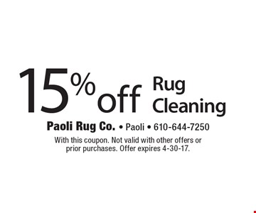 15% off Rug Cleaning. With this coupon. Not valid with other offers or prior purchases. Offer expires 4-30-17.