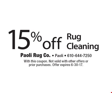 15%off Rug Cleaning. With this coupon. Not valid with other offers or 