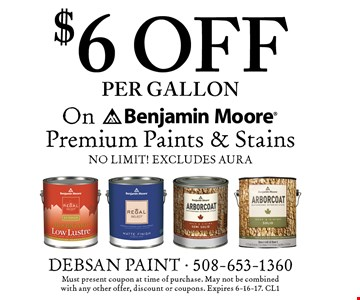 $6 off per gallon on Benjamin Moore Premium Paints & Stains. No limit! Excludes Aura. Must present coupon at time of purchase. May not be combined with any other offer, discount or coupons. Expires 6-16-17. CL1