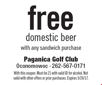 Free domestic beer with any sandwich purchase. With this coupon. Must be 21 with valid ID for alcohol. Not valid with other offers or prior purchases. Expires 5/26/17.