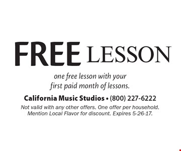 FREE Lesson - one free lesson with your first paid month of lessons. Not valid with any other offers. One offer per household. Mention Local Flavor for discount. Expires 5-26-17.