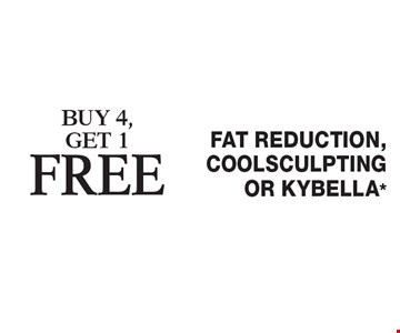 Buy 4, get 1free Fat Reduction, Coolsculpting or Kybella*. Cannot be combined with any other coupons, specials, promotions or prior purchases. Expires 4/28/17.