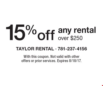 15% Off Any Rental Over $250. With this coupon. Not valid with other offers or prior services. Expires 8/18/17.