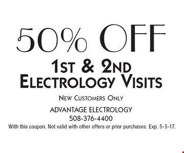 50% OFF 1st & 2nd Electrology Visits. New Customers Only. With this coupon. Not valid with other offers or prior purchases. Exp. 5-5-17.