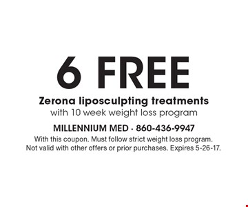6 free Zerona liposculpting treatments with 10 week weight loss program. With this coupon. Must follow strict weight loss program. Not valid with other offers or prior purchases. Expires 5-26-17.