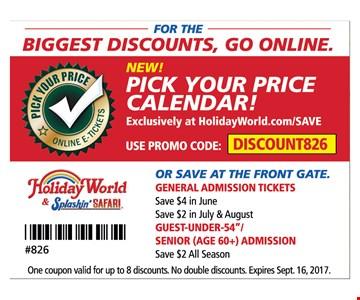 Pick your price calendar