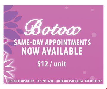 Botox $12/unit