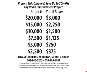 Present This Coupon & Save Up To 20% Off Any Home Improvement Project. Project: $20,000 Save $3,000, Project: $15,000 Save $2,250, Project: $10,000 Save $1,500, Project: $7,500 Save $1,125, Project: $5,000 Save $750, Project: $2,500 Save $375. *Excludes insurance estimates. Sale is for 15% off. Take an additional 5% off if work is contracted at initial consultation. Excludes entry doors.May not be combined with other Advance Inc. promotional offers. Exp. 5/5/17.