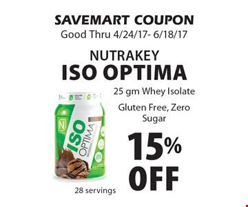 15% Off NutraKey ISO Optima. 25 gm Whey Isolate Gluten Free, Zero Sugar. SAVEMART COUPON. Good Thru 4/24/17- 6/18/17
