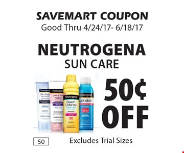 50¢ off Neutrogena sun care. Excludes Trial Sizes. SAVEMART COUPON. Good Thru 4/24/17- 6/18/17