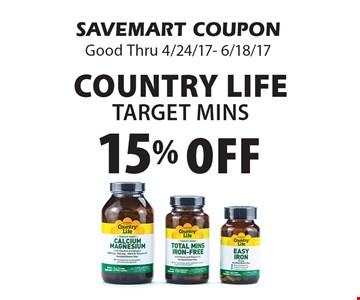 Country Life Target Mins. SAVEMART COUPON. Good Thru 4/24/17- 6/18/17