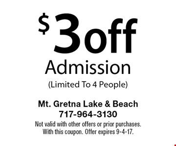$3 off Admission (Limited To 4 People). Not valid with other offers or prior purchases.With this coupon. Offer expires 9-4-17.