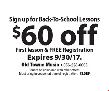Sign up for Back-To-School Lessons $60 off First lesson & FREE Registration. Cannot be combined with other offers. Must bring in coupon at time of registration.CLDEP Expires 9/30/17.