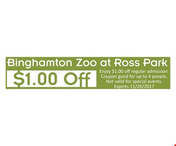 Enjoy $1.00 off regular admission. Coupon good for up to 4 people. Not valid for special events. Expires 11/26/2017.