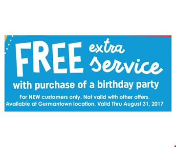 Free Extra Service w/purchase of a birthday party