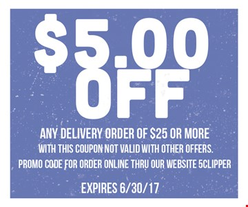 $5 off any delivery order of $25 or more
