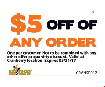 $5 off of any order