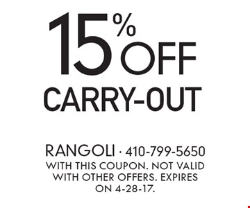 15% Off Carry-Out. With this coupon. Not valid with other offers. Expires on 4-28-17.