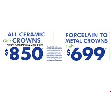 All ceramic crowns $850