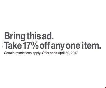 17% off any item.