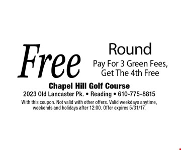 Free Round Pay For 3 Green Fees, Get The 4th Free. With this coupon. Not valid with other offers. Valid weekdays anytime, weekends and holidays after 12:00. Offer expires 5/31/17.