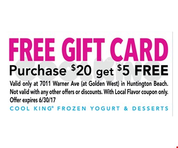 Free gift card  purchase $20 get a $5 Free gift card