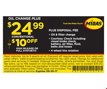 $24.99 Conventional Oil Change Plus or $10 Off High Mileage or Full Synthetic