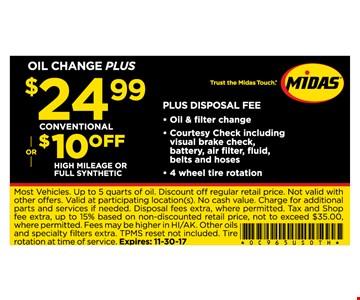 Oil change plus $24.99