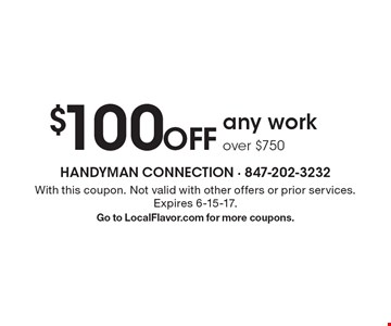 $100Off any workover $750. With this coupon. Not valid with other offers or prior services. Expires 6-15-17.Go to LocalFlavor.com for more coupons.