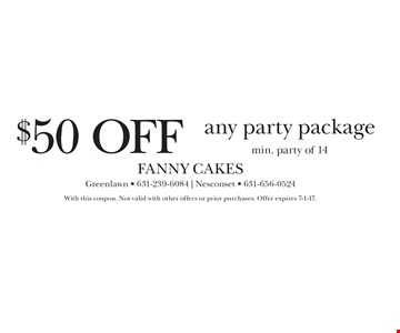 $50 off any party package. Min. party of 14. With this coupon. Not valid with other offers or prior purchases. Offer expires 7-1-17.