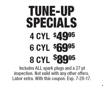 Tune-Up Specials: $49.95 4 cyl. $69.95 6 cyl. $89.95 8 cyl. Includes all spark plugs and a 27 pt inspection. Not valid with any other offers. Labor extra. With this coupon. Exp. 7-28-17.