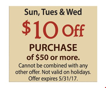 $10 off purchase of $50 or more