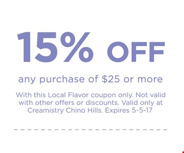 15% off any $25 purchase.