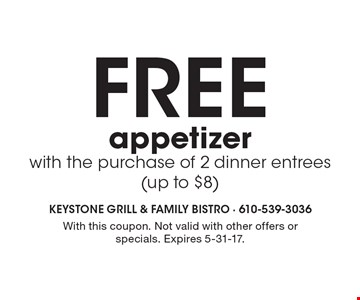 Free appetizer with the purchase of 2 dinner entrees (up to $8). With this coupon. Not valid with other offers or specials. Expires 5-31-17.