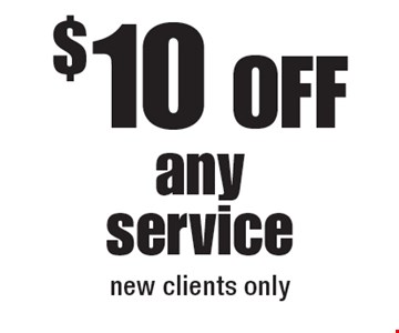$10 Off any service, new clients only.