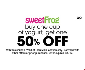 Buy one cup of yogurt, get one 50% off. With this coupon. Valid at Glen Mills location only. Not valid with other offers or prior purchases. Offer expires 5/5/17. CC