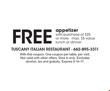 FREE appetizer with purchase of $25 or more. Max. $5 value. Lunch or dinner. With this coupon. One coupon per table, per visit. Not valid with other offers. Dine in only. Excludes alcohol, tax and gratuity. Expires 5-14-17.