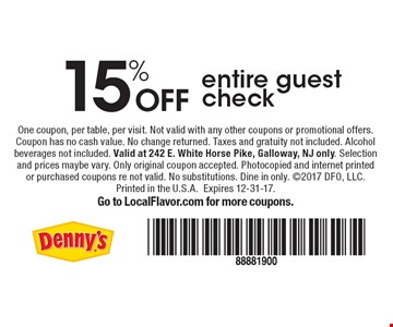 15% Off entire guest check. One coupon, per table, per visit. Not valid with any other coupons or promotional offers. Coupon has no cash value. No change returned. Taxes and gratuity not included. Alcohol beverages not included. Valid at 242 E. White Horse Pike, Galloway, NJ only. Selection and prices maybe vary. Only original coupon accepted. Photocopied and internet printed or purchased coupons re not valid. No substitutions. Dine in only. 2017 DFO, LLC. Printed in the U.S.A. Expires 12-31-17. Go to LocalFlavor.com for more coupons.