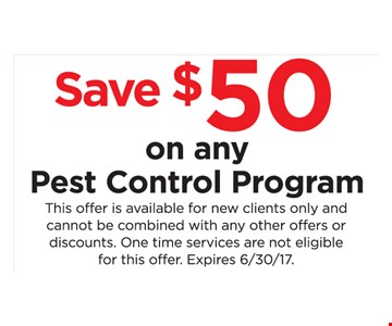 save $50 on any pest control program