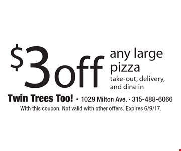 $3 off any large pizza take-out, delivery, and dine in. With this coupon. Not valid with other offers. Expires 6/9/17.