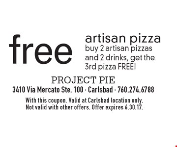 Free artisan pizza. Buy 2 artisan pizzas and 2 drinks, get the 3rd pizza FREE! With this coupon. Valid at Carlsbad location only. Not valid with other offers. Offer expires 6.30.17.