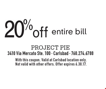 20% off entire bill. With this coupon. Valid at Carlsbad location only. Not valid with other offers. Offer expires 6.30.17.