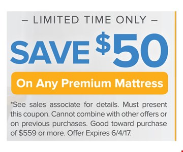 Save $50 On Any Premium Mattress