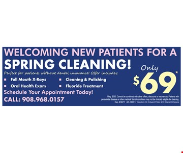 $69 spring cleaning for new patients