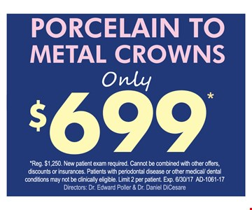 $699 Porcelain To Metal Crowns